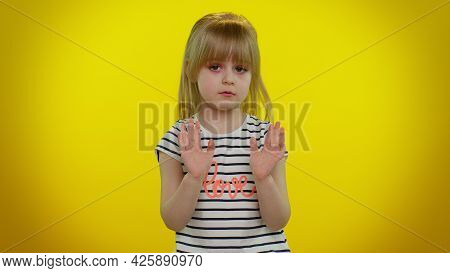 I Am Not Guilty. Portrait Of Blonde Kid Child 5-6 Years Old Pointing Fingers Himself Ask Say Who Me