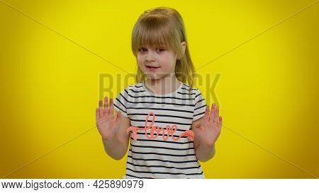 I Do Not Need It, Not Me, No Thanks. Honest Little Cute Blonde Kid Child Pointing Fingers Himself As