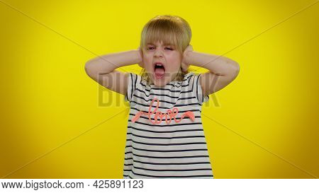 Dont Want To Hear And Listen. Frustrated Annoyed Irritated Blonde Kid Child 5-6 Years Old Covering E