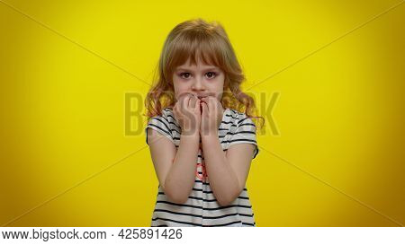 Upset Scared Frightened Child Girl Biting Nails, Feeling Worried Nervous About Serious Troubles, Str