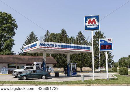 Kokomo - Circa July 2021: Marathon Petroleum Retail Gas Station. Marathon Petroleum Refines And Mark