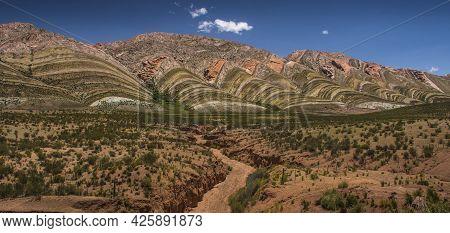 El Espinazo Del Diablo (the Devil´s Backbone), Jujuy, Puna Argentina.   Mountain Range With Colours
