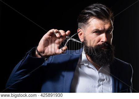 Serious Bearded Man, Portrait Of Man With Long Beard And Moustache. Barber Scissors For Barber Shop.