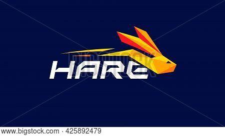 Hare Logo Concept Geometric Rabbit Icon. Run Bunny Vector Logotype For Speed Race, Sport, Automotive