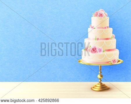 Wedding Cake With Cream Roses On Top And Between Tiers Against Blue Background Realistic Image Vecto