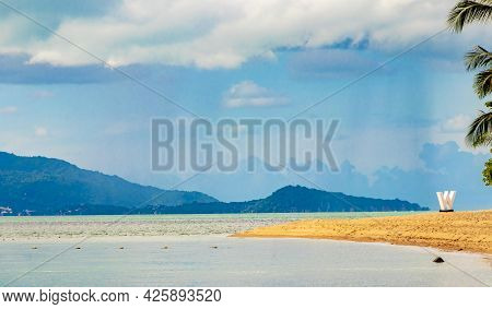 W Beach And Maenam Beach Landscape Panorama Koh Samui Thailand.