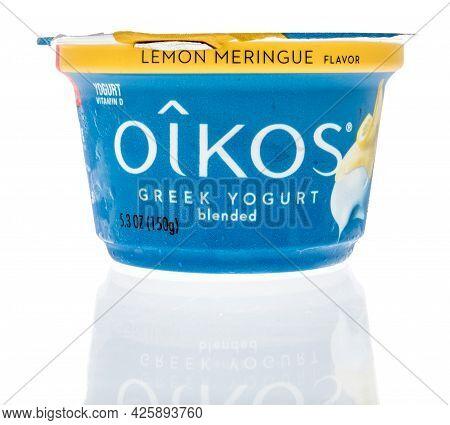 Winneconne, Wi - 5 July 2021:  A Bottle Of Oikos Greek Yogurt On An Isolated Background
