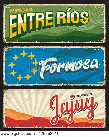 Formosa, Entre Rios And Jujuy Regions, Argentine Provinces Vintage Plates. Vector Yellow Stars, Gree