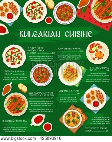 Bulgarian Cuisine, Dishes Menu Poster Of Bulgaria Food, Vector Meals. Bulgarian Food Cuisine Cabbage