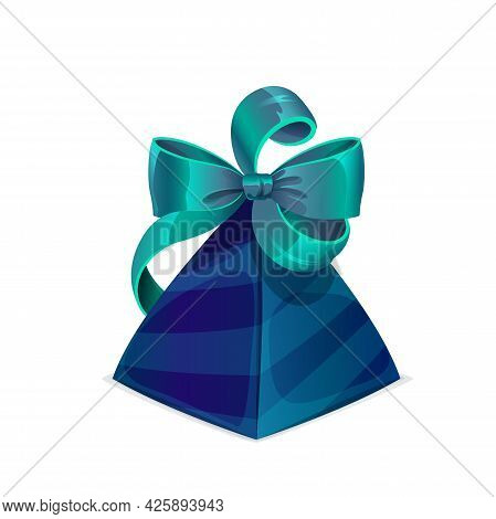 Gift Box With Bow, Birthday Or Wedding Present With Blue And Green Ribbon, Vector. Jewelry Gift Box