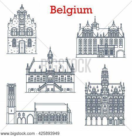 Belgium Landmarks Architecture, City Sightseeing Buildings, Churches Icon. Belgium Travel Landmark N