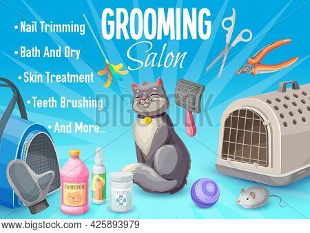 Pet Care, Cat Grooming Salon Poster With Kitten And Goods For Care. Vector Ad Promo Card For Nails T