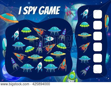Kids Spy Game With Space Rockets And Ships. Vector Riddle With Cartoon Alien Ufo Saucers In Cosmos O