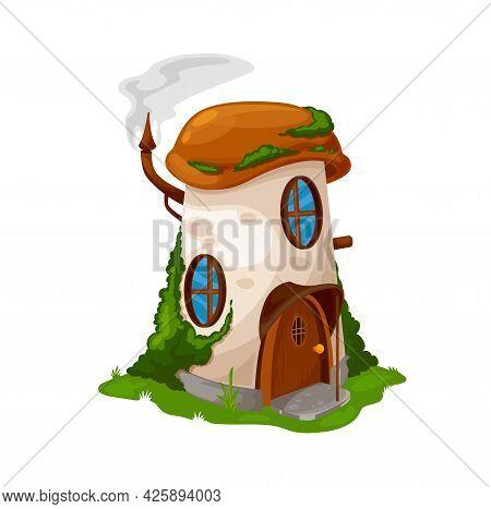Fairytale Mushroom House Of Dwarf Gnome, Cartoon Vector Elf Home Hut. Fairy Tale Dwarf Or Forest Gno