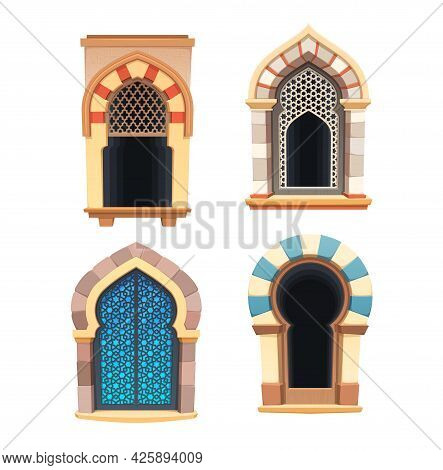 Windows Of Arabian Castle Or Fortress Interior Vector Design. Cartoon Arched Window Apertures With C