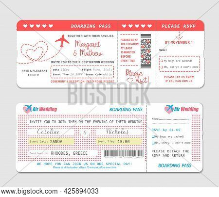 Boarding Pass Tickets, Wedding Invitation Vector Template. Plane Travel Cards, Airline Flight Coupon