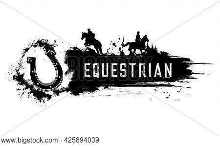 Equestrian Sport Club Banner. Horse Riding And Racing, Horseshoe, Jockey On Stallion, Jumping Over O