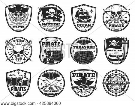 Piracy And Pirate Heraldic Icons, Vector Jolly Roger Skulls Or Skeleton Heads, Black Flag, Cannon An