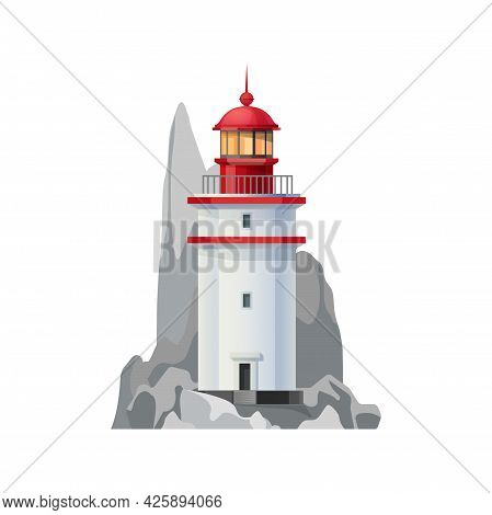 Sea Lighthouse Vector Icon Of Nautical Navigation Safety Tower. Isolated Ocean Beacon Or Lighthouse