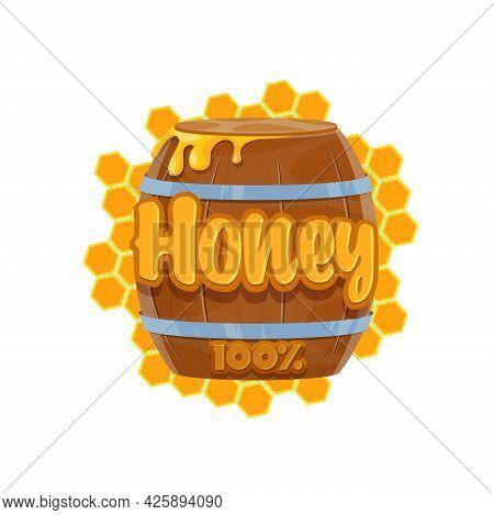Cartoon Honey Barrel Icon Of Beekeeping And Apiculture Food. Vector Bee Honey In Wooden Keg Or Cask