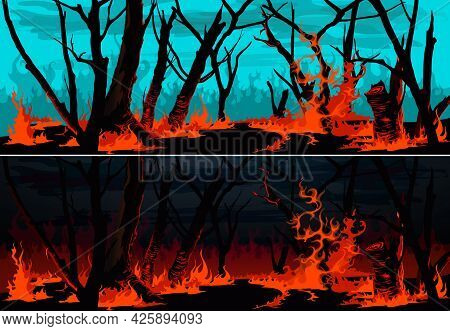 Forest Fire With Burning Grass And Trees Vector Banners. Wildfire At Night Or Bushfire By Day Nature