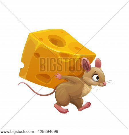 Cartoon Mouse And Large Piece Of Cheese, Cute Vector Rat Character Carry Huge Slice Of Cheese With H