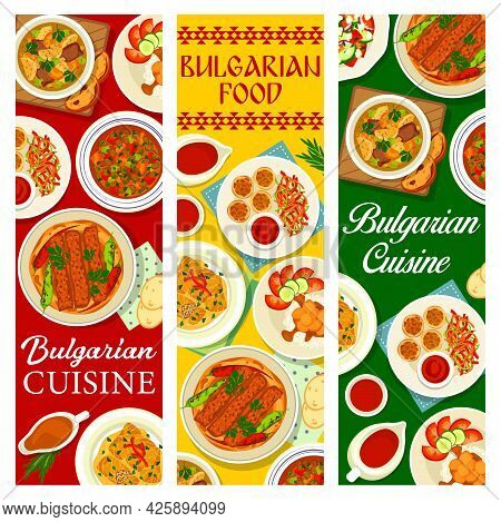 Bulgarian Food Cuisine Banners, Dishes Menu And Bulgaria Traditional Meals, Vector. Bulgarian Cuisin