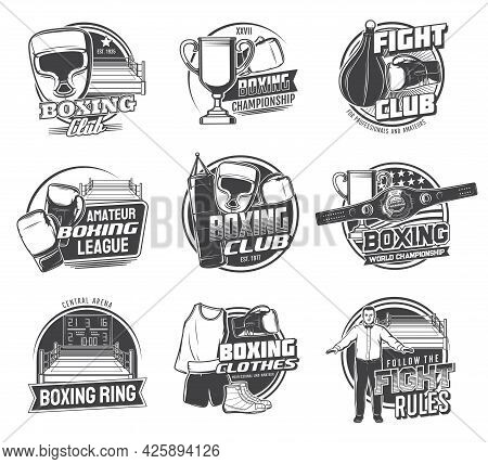 Boxing Sport Icons Of Vector Box Punching Bags, Boxer Gloves And Helmets. Boxing Championship Ring,