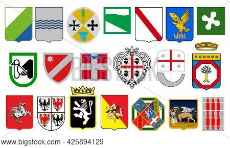 Italian Regions Heraldry, Italy Provinces Coat Of Arms. Abruzzo, Basilicata And Calabria Vector Blaz