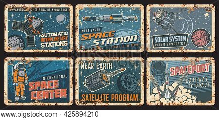 Orbital Space Station And Satellite Rusty Plates With Vector Universe Galaxy Planets, Spaceships, As