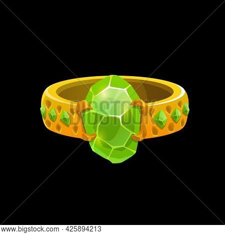 Wizard Magic Ring With Green Gemstones, Vector Sorcerer Golden Jewelry. Fantasy Witch Gold Jewel Wit