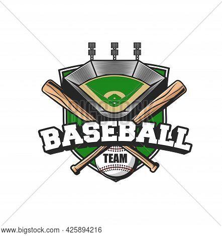 Baseball Sport Team Icon. Vector Ball, Crossed Bats And Stadium. Baseball Player Equipment And Arena