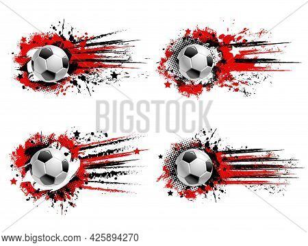 Soccer Football Sport Grunge Banners. Flying Soccer Ball, Red And Black Paint Splashes, Drops And Tr