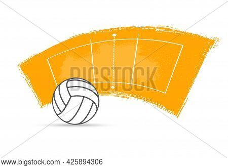 Volleyball Sport Ball And Court Vector Design Of Team Game. Volleyball Arena Play Field And White Le