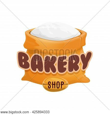 Bakery Shop Icon, Flour Bag And Wheat Grain Vector Symbol. Bakery And Bread Shop Icon For Pastry Or
