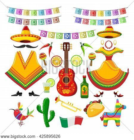 Mexican Party Decorations. Mexico Celebration Traditional Objects For Fiesta Invitation With Guitar