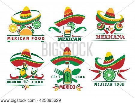 Mexican Fast Food Logo Set. Mexica Menu Symbols, Nachos Tacos Red Sauce Salsa Delicious Dishes, Rest