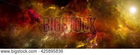 A Nebula In Bright Colors In Deep Space. Science Fiction Wallpapers.