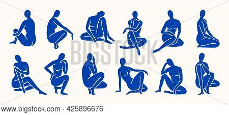 Inspired By Matisse, Womens Figures In Different Poses In A Trendy Minimalist Style. Vector Collage