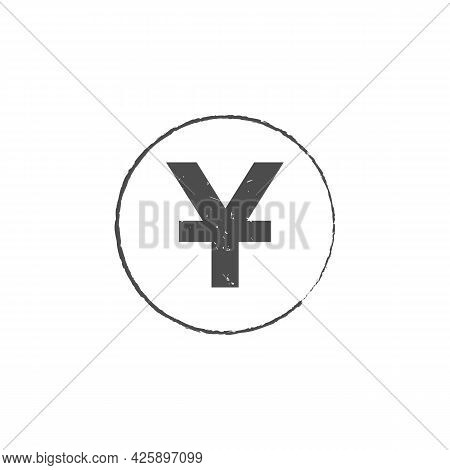 China Yuan Grunge Stamp Seal Vector Design. Currency Mainstream Symbol With Grunge Stamp Seal Style