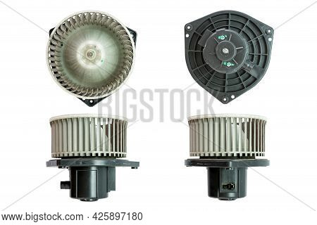 Air Car Blower Motor Isolated On White Background. Car Spare Parts.
