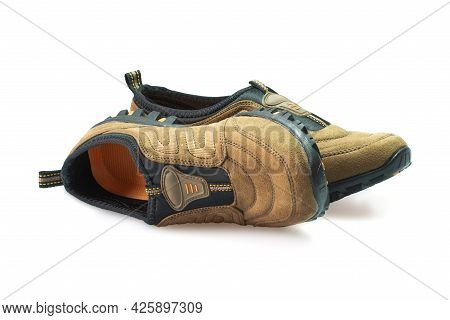 Men's Hiking Modern Shoes Isolated On White Background.