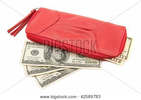 wallet with dollar bills on a white background poster
