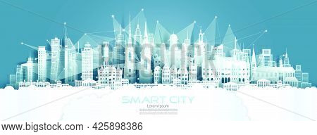 Technology Wireless Network Communication Smart City With Architecture In Sweden At Europe Downtown