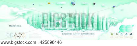 Advertising Travel Brochure United Arab Emirates Top World Modern Skyscraper And Famous City Archite