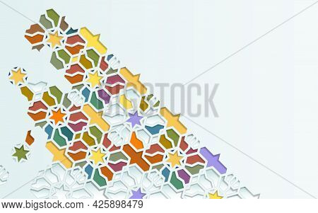 Seamless Islamic Pattern Elements Ornament Background In Color. Islamic Ornamental Colorful Detail O
