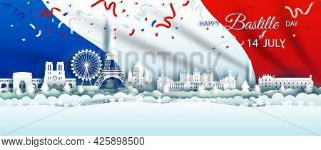 Illustration Anniversary Celebration Happy Independence France Day In Background France Flag, Travel