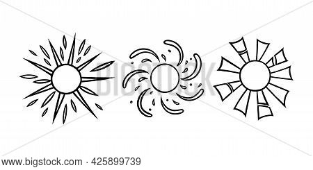 Handdrawn Suns Set. Summer Suns Shining With Beams In Linear Style. Black And White Vector Illustrat