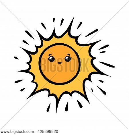 Funny Sun Character. Kawaii Sun Smiling Face In Doodle Style. Black And White Vector Illustration Is