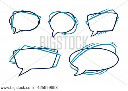 Speech Bubbles In Oval And Rectangular Shapes. Outline Speech Boxes Isolated In White Background. Ha